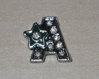 Letter A beads sliding rhinestones in silver