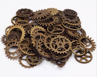 100g Mixed Bronze/Antique Silver/Gold/Antique copper Steampunk Gear Charms Clockwork Cog Wheel Gearwheel Mechanical Watch Gear Clock Parts