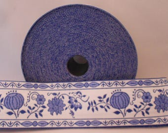 Braid blue white with onion pattern, 6.5 cm wide, made of 100% cotton