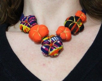 JACOBINIA necklace - African fabric and cotton
