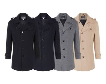 De La Creme - Men's Wool Mix Jacket Military Style Epaulettes Single Breasted Coat