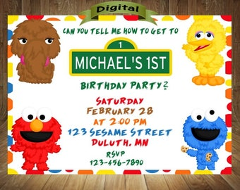 Sesame Street Invitation, Sesame Street Birthday Invitation, Elmo Invitation, Elmo Birthday Invitation, Elmo Birthday,  Digital File