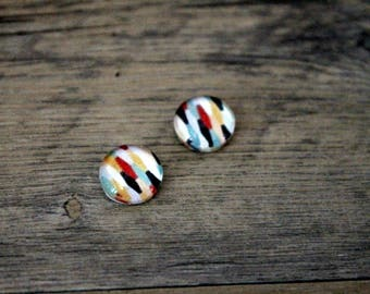 1 cabochon clear 10mm alveoli Brown and Red pattern