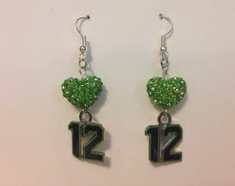 Seahawks 12 Green Swarovski Hearts Earrings