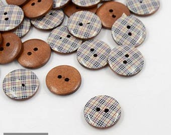 Set of 5 buttons printed wood Plaid round 2 hole 20 mm