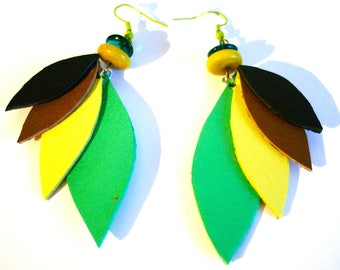 * Feather leather earrings *.