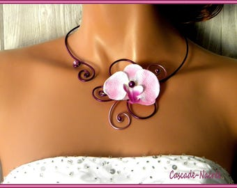 Eggplant plum pink bridal Orchid aluminum Pearl wedding jewelry necklace