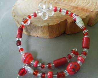 Red and clear bracelet with paper beads