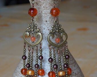 Earrings orange and bronze glass