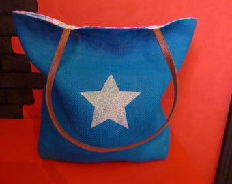 tote bag reversible canvas jute/mandala star glitter