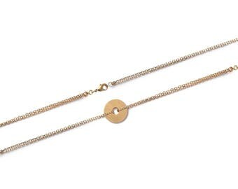 Bracelet with disc 16 mm gold plated 18 cm to customize