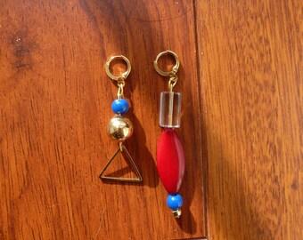 Combined asymmetrical earrings multicolor