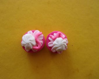Set of 2 cupcakes polymer clay, pink - 1.5 cm
