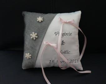 cushion gray wedding ring and pink themed winter snowflake