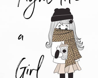 Fight Like a Girl A5 Digital pint