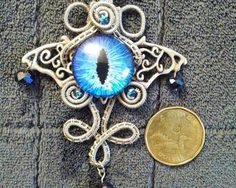 Blue Dragon's Eye Wire Wrapped Pendant