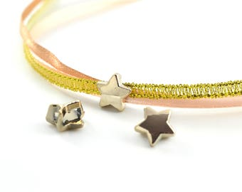 3 pearls pink(Roses) stars gold pale pink hole 6mm