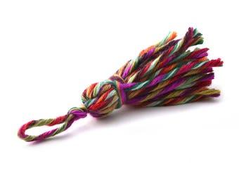 Tassel multicolor tones dark Carnival 7 cm