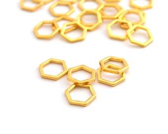 5 Hexagon connector golden metal 11mm