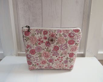 """Small pouch in linen and cotton """"YUWA"""" with pink flowers - Christmas gift idea"""