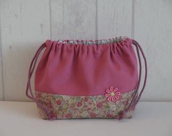 """Obento kinchaku"" pouch, linen and cotton flowers, pink"