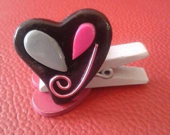 """Pita"" polymer clay heart Adjustable ring - and-blah-and-blah"