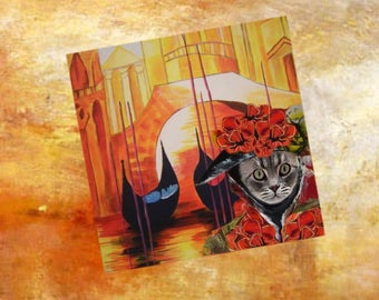 Square card with cat: an another beautiful Venetian