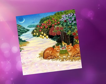 Card with cat, a bit surreealiste: our garden of eden
