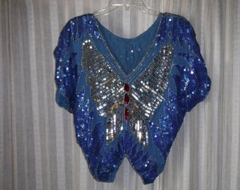 Butterfly Sequin and Bead Vintage Disco Blouse, Blue and Silver