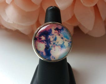 "Adjustable ring ""nebula, milky way.."" 25mm cabochon"