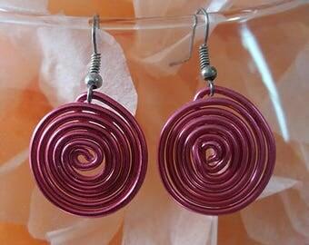 """Spiral"" costume jewelery earrings Aluminum Pink"