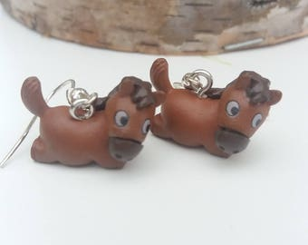 "Costume jewelery earrings resin ""Horse at rest"", original"