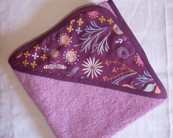 Hooded towel purple terrycloth, with matching fabric on the hood