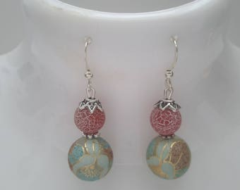 Pink agate and tensha bead earrings