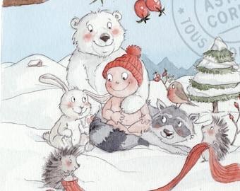 100 invitations birth 'winter' with square envelopes