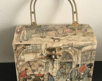 VINTAGE ANTON PIECK Decoupaged Wood Purse, Hand Bag, Lined W/Bale Handle