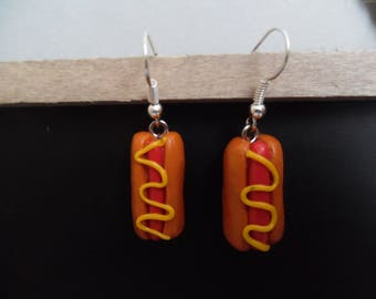 Pierced earrings polymer clay hot dog