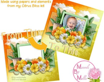 QP, Quick Page layout, Digital Scrapbooking, Layout, Digi-Scrap, Citrus Themed Digital Layout