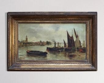 Original 19th Century English River Scene [Edward Louis Anthony Parrini] Listed Artist