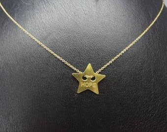 """Gold plated necklace and message """"hope"""" pendant"""