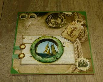 CARD EMBOSSED SEA THEME
