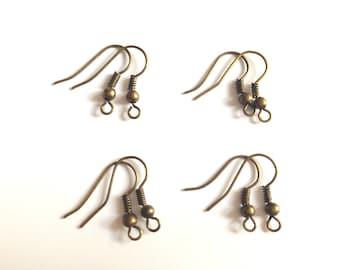 Set of 8 supports for bronze earrings - ear hooks.