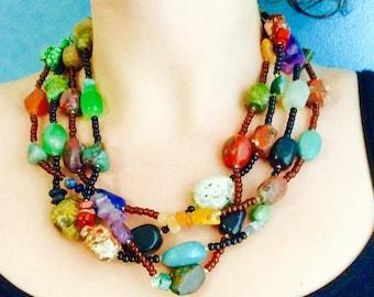Natural gemstone multi-stranded necklace.