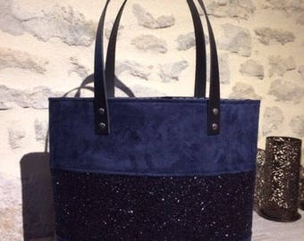 Blue leatherette and suede tote bag