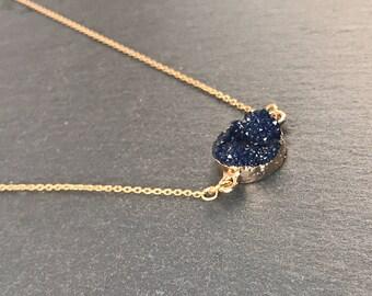 Dark Blue round druzy necklace