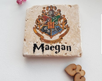 Fantastic natural stone harry potter coasters wizard slitherin hufflepost ravenclaw gryffindor hand made  Hogwarts castle can b personalised