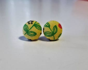 Yellow Leaf Fabric Button Earrings