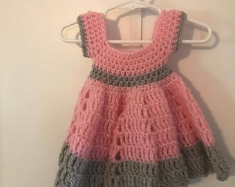 Pink and grey crochet dress 0-3 months