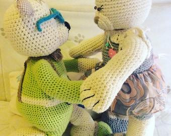 Knitted Teddy, bear family, amigurumi