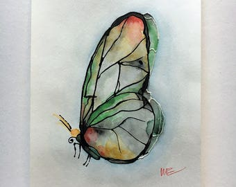 Watercolor Painting - Green/Yellow Butterfly